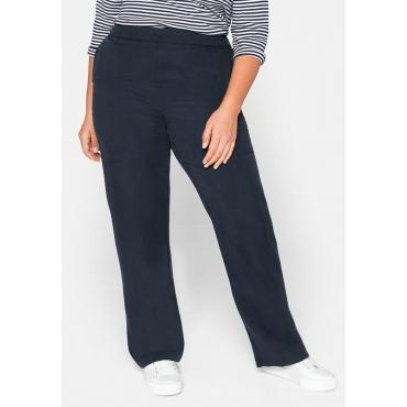 Gerade Hose mit Seitenschlitzen aus TENCEL™ Lyocell, nachtblau, Gr.44-58