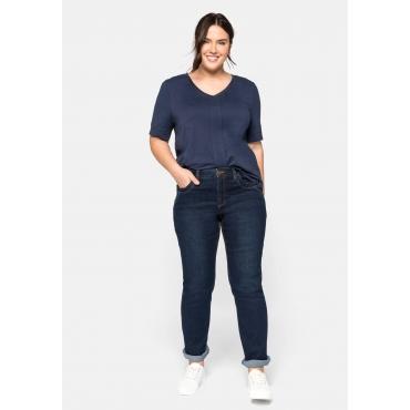 Gerade Jeans in 5-Pocket-Form und mit Kontrastnähten, blue black Denim, Gr.44-58