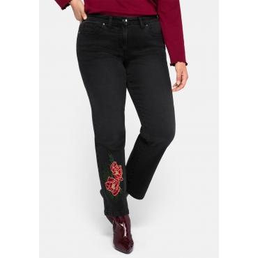 Gerade Jeans mit Blumenstickerei, black Denim, Gr.44-58