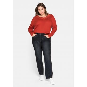 Gerade Jeans mit Catfaces und Kontrastnähten, black Denim, Gr.44-58