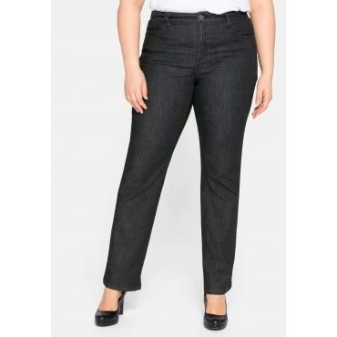 Gerade Jeans mit Formbund und formenden Nähten, black Denim, Gr.44-58