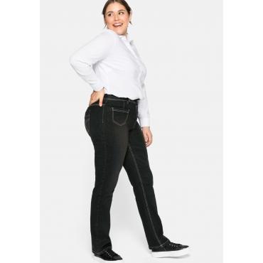 Gerade Jeans mit Formbund und Kontrastnähten, black Denim, Gr.44-58