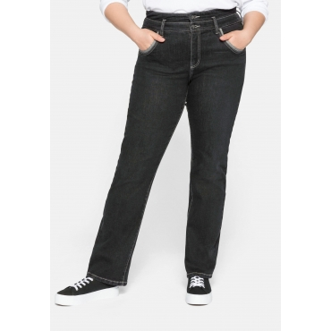 Gerade Jeans mit High-waist-Formbund, stretch, black Denim, Gr.44-58