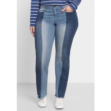 Große Größen: Gerade Jeans mit Kontrast-Patches, blue Denim, Gr.40-58