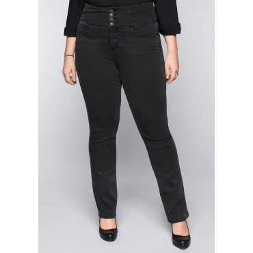 Große Größen: Gerade Power-Stretch-Jeans mit High-Waist-Bund, black Denim, Gr.44-58