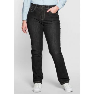 Große Größen: Gerade Stretch-Jeans LANA Bodyforming-Effekt, black Denim, Gr.22-104