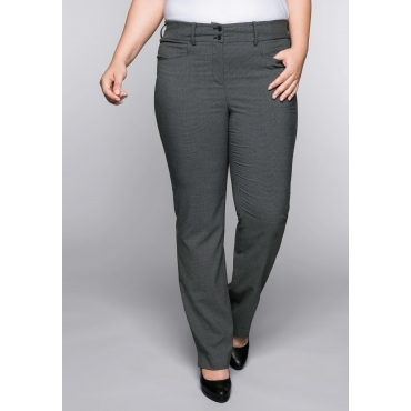 Große Größen: Gerade Stretch-Hose im Minimal-Design, grau-schwarz, Gr.44-58