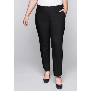 Große Größen: Gerade Stretch-Hose mit breiten Gürtelschlaufen, schwarz, Gr.44-58