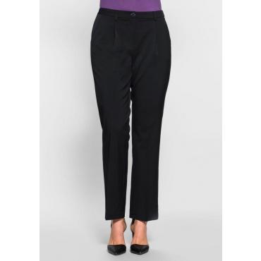 Große Größen: Gerade Stretch-Hose mit Bügelfalte, schwarz, Gr.40-58