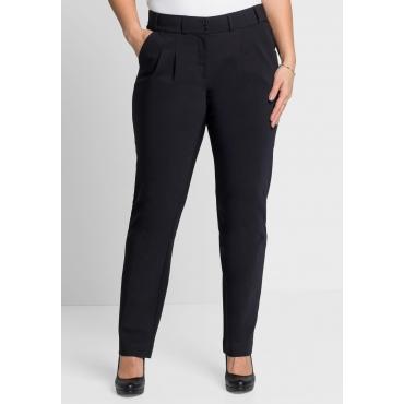 Große Größen: Gerade Stretch-Hose mit Bundfalten, schwarz, Gr.44-58