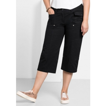 Große Größen: Gerade Stretch-Hose mit Krempelfunktion, schwarz, Gr.40-58