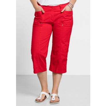 Große Größen: Gerade Stretch-Hose mit Krempelfunktion, tomatenrot, Gr.40-58