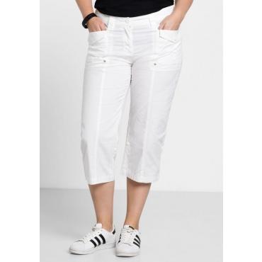 Große Größen: Gerade Stretch-Hose mit Krempelfunktion, weiß, Gr.40-58