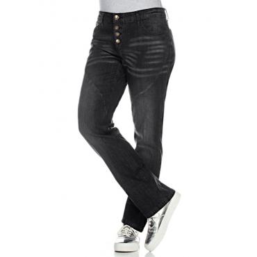 Große Größen: Gerade Stretch-Jeans LANA, black Denim, Gr.20-116