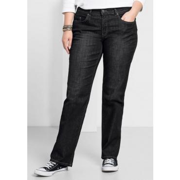 Große Größen: Gerade Stretch-Jeans LANA, black Denim, Gr.24-88