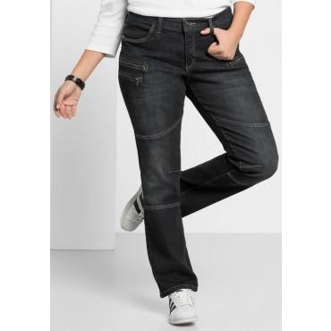 Große Größen: Gerade Stretch-Jeans LANA, black Denim, Gr.21-104