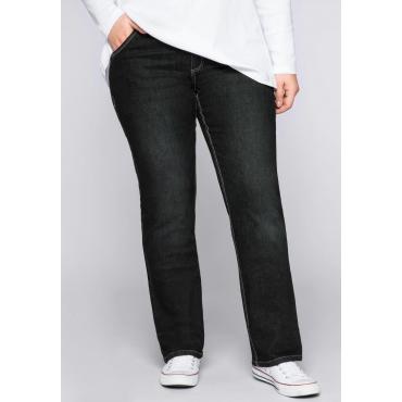Große Größen: Gerade Stretch-Jeans LANA, black Denim, Gr.22-104