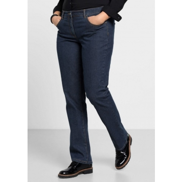 Große Größen: Gerade Stretch-Jeans LANA in 5-Pocket-Form, dark blue Denim, Gr.21-104