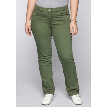 Große Größen: Gerade Stretch-Jeans LANA in Coloured Denim, khaki, Gr.44-58