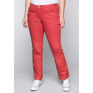 Große Größen: Gerade Stretch-Jeans LANA in Coloured Denim, melone, Gr.44-58