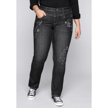 Große Größen: Gerade Stretch-Jeans LANA mit Comic-Druck, black Denim, Gr.44-58