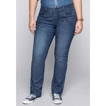 Große Größen: Gerade Stretch-Jeans LANA mit Comic-Druck, blue Denim, Gr.44-58