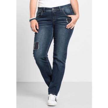 Große Größen: Gerade Stretch-Jeans LANA mit Destroyed-Effekten, blue Denim, Gr.40-58