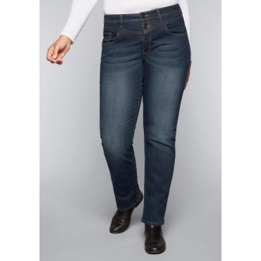 Große Größen: Gerade Stretch-Jeans LANA mit individueller Waschung, dark blue Denim, Gr.44-58