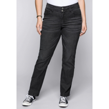 Große Größen: Gerade Stretch-Jeans LANA mit Kontrastpaspel, black Denim, Gr.44-58