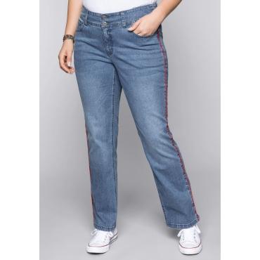 Große Größen: Gerade Stretch-Jeans LANA mit Kontrastpaspel, blue Denim, Gr.44-58