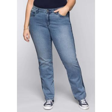 Große Größen: Gerade Stretch-Jeans LANA mit seitlichen Paspeln, blue Denim, Gr.44-58