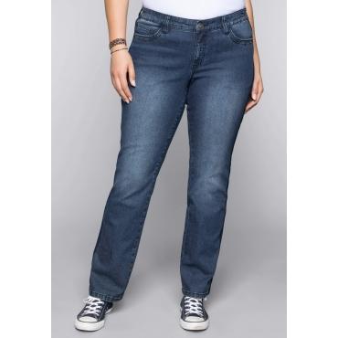 Große Größen: Gerade Stretch-Jeans LANA mit seitlichen Paspeln, dark blue Denim, Gr.44-58