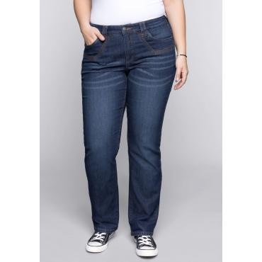 Große Größen: Gerade Stretch-Jeans LANA mit Stickerei, blue Denim, Gr.44-58
