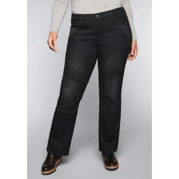 Große Größen: Gerade Stretch-Jeans LANA mit Ziernähten, black Denim, Gr.44-58