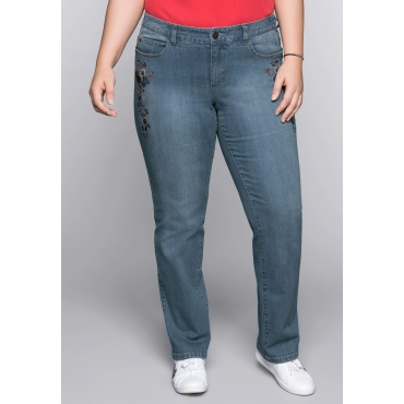 Große Größen: Gerade Stretch-Jeans mit Blumenstickerei, blue Denim, Gr.44-58