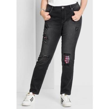 Große Größen: Gerade Stretch-Jeans mit Destroyed-Effekten, black Denim, Gr.40-58