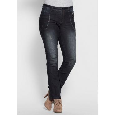 Große Größen: Gerade Stretch-Jeans mit Destroyed-Effekten, dark blue Denim, Gr.21-104