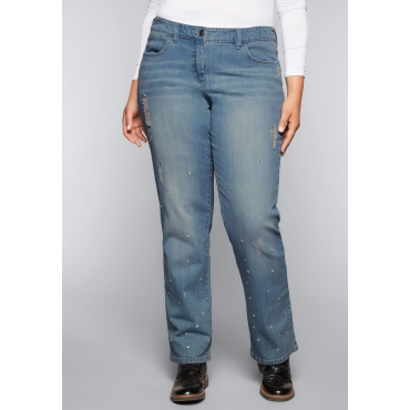 Große Größen: Gerade Stretch-Jeans mit Glitzersteinen, light blue Denim, Gr.44-58