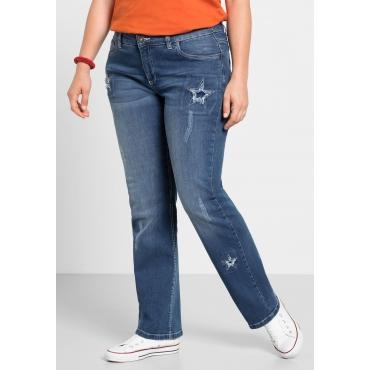 Große Größen: Gerade Stretch-Jeans mit Patches, blue Denim, Gr.40-58
