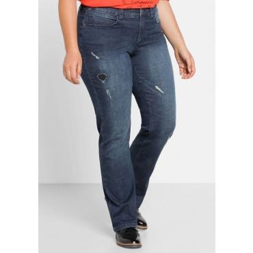 Große Größen: Gerade Stretch-Jeans mit Patches, dark blue Denim, Gr.44-58
