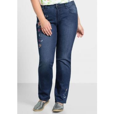 Große Größen: Gerade Stretch-Jeans mit Stickerei, blue Denim, Gr.44-58