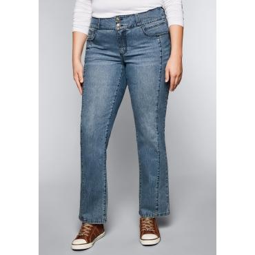 Große Größen: Gerade Stretch-Jeans mit Teilungsnähten, blue Denim, Gr.44-58
