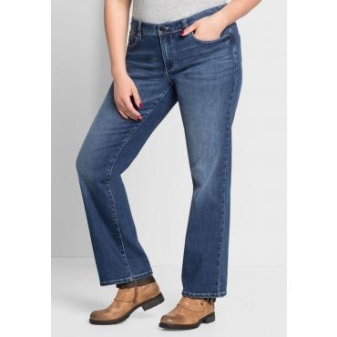 Große Größen: Gerade Stretch-Jeans mit Used-Waschung, blue Denim, Gr.44-58
