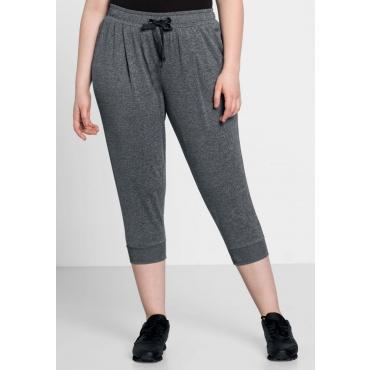 Große Größen: 3/4-Sweat-Hose aus Funktionsmaterial, grau meliert, Gr.44-58
