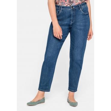 Girlfriend Jeans mit Teilgummibund und Catfaces, blue Denim, Gr.44-58