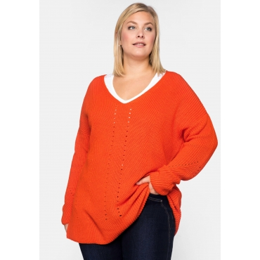 Grobstrickpullover in Boxyform mit V-Ausschnitt, orange, Gr.44/46-56/58