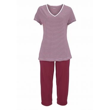Große Größen: Capri-Pyjama, bordeaux, Gr.40/42-56/58