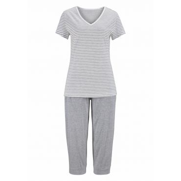 Große Größen: Capri-Pyjama, hellgrau, Gr.40/42-56/58