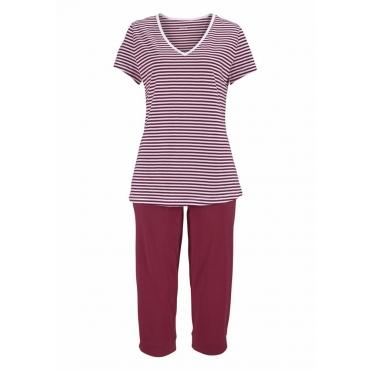 Große Größen: H.I.S Capri-Pyjama mit geringeltem T-Shirt und legerer Hose, bordeaux, Gr.40/42-56/58