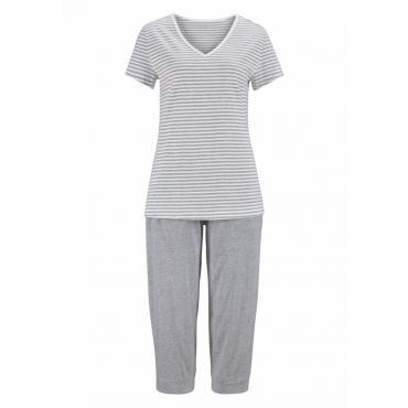 Große Größen: H.I.S Capri-Pyjama mit geringeltem T-Shirt und legerer Hose, hellgrau, Gr.40/42-56/58